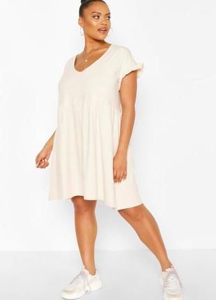 Бежевое платье от boohoo, большой размер.