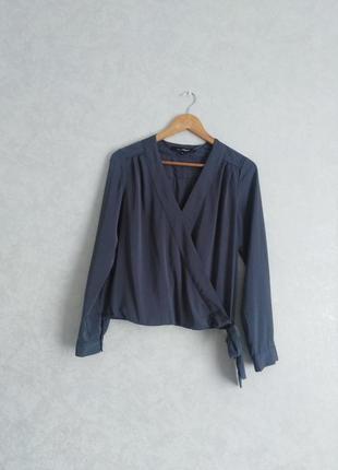 Блуза с имитацией запаха, серебристо-серая