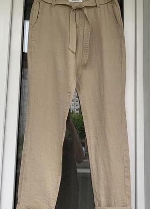 Promod бежевые свободные брюки из 100% льна размер м