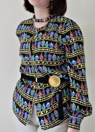 Його величність шовк. вінтажна шовкова сорочка з оригінальним принтом в глечики, вази