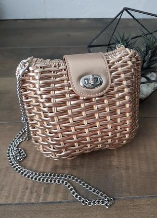 Плетенная сумка соломенная ротанг розовае золото