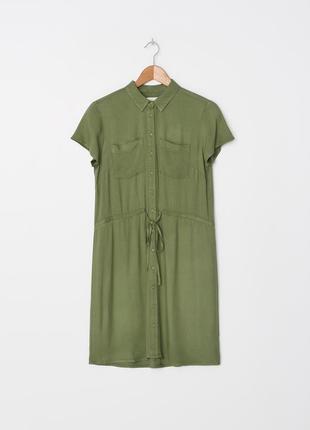 Новое платье рубашка зеленое миди платье в стиле zara reserved