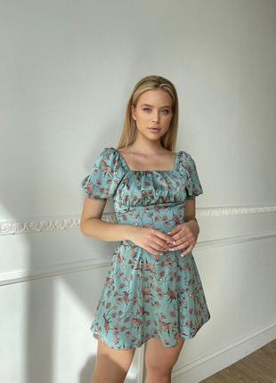 Шелковое платье мини с коресетом