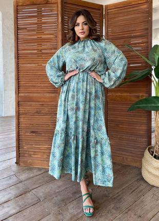 Нежное оливковое платье