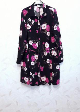 Лёгкая, тонкая, мягкая удлинённая рубашка,  платье на пуговицах, 48-50-52?, вискоза, jacoueline de yong