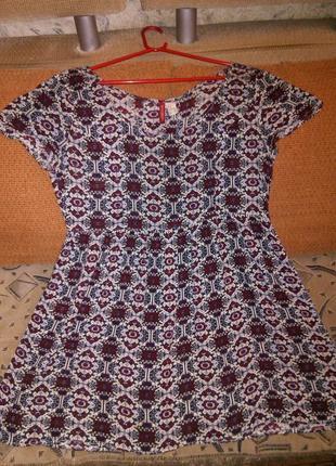 Бордовое узорчатое миди платье h&m ,этно стиль,индия.