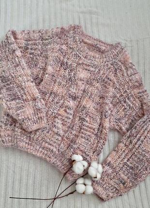 Вязаный укороченый свитер оверсайз