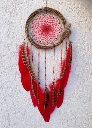 Большой красный ловец снов. оригинальный подарок, декор.
