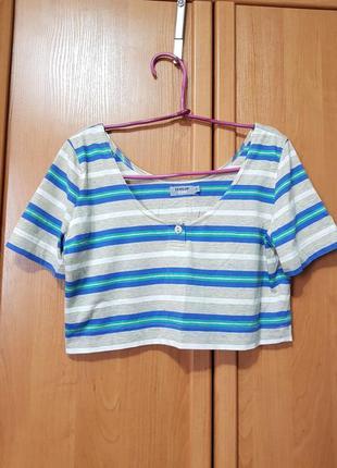 Лёгкая летняя укороченная футболка, бежевая футболка в полосочку, топ, топик