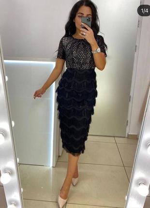Шикарное платье футляр в черно-бежевом цвете с кружевом с паетками бахромой батал xl