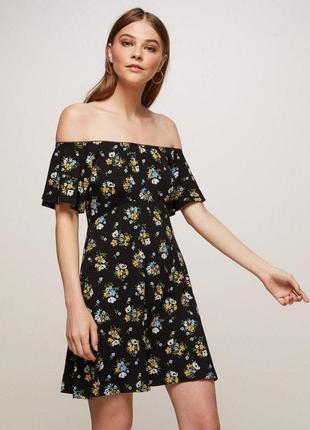 Платье в цветочный принт с открытыми плечами zara