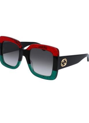 Женские солнцезащитные квадратные очки в стиле гуччи люкс в красно зеленой оправе