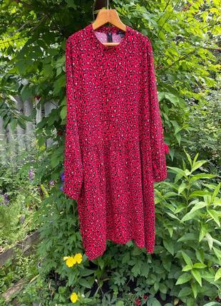 Платье миди вискоза леопард свободный крой сукня міді