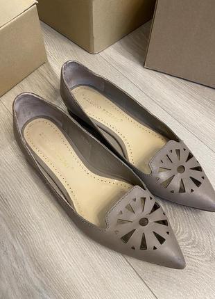 Кожаные туфли лодочки балетки с острым носком лоферы 38 размер zara mango