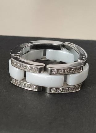 Кольцо шанель chanel ultra 15 размер белое из керамики