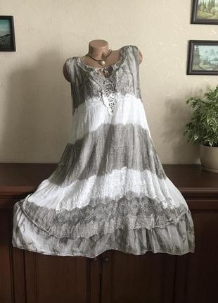 Роскошное платье-сарафан натуральный лён шитьё макрамэ италия оригинал 48-58р