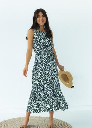 Летнее платье с оборкой на талии