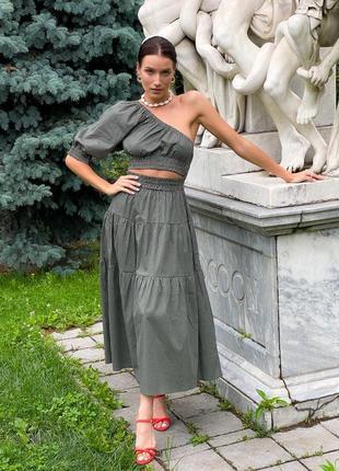 Котоновое платье миди с одним рукавом