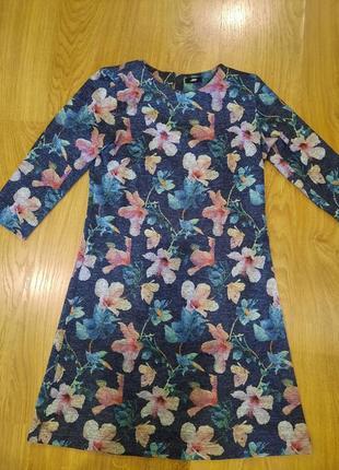Платье в цветочек в цветок синее вечернее 44