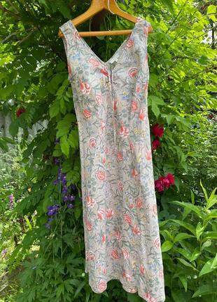 Платье сарафан лен 10 размер сукня льняна сарафан