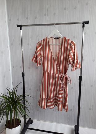 Платье для дома на запах в полоску
