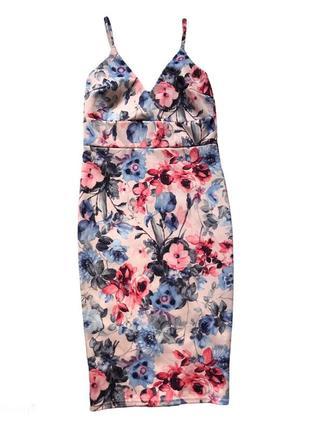 Платье карандаш / платье миди / платье на бретелях в цветочный принт
