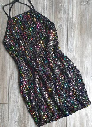 Платье пайетки с открытой спиной prettylittlething 42-46р 10