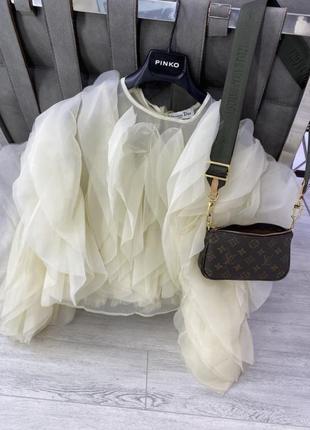 Шикарная белая брендовая молочная блузка топ шёлк шёлковая