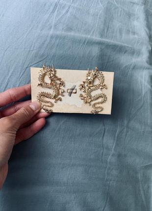 Реалистичные серьги китайский дракон металические сережки обьемные