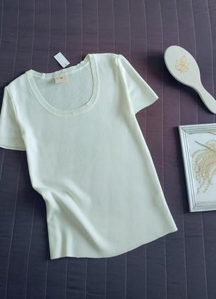 Шелковая блуза, футболка (100% шелк) слоновая кость