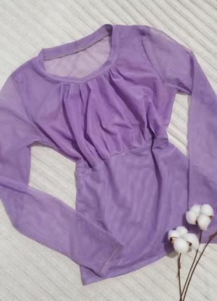 Полупрозрачная блуза лилового цвета