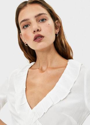Блуза блузка с рюшами на запах ✨ bershka ✨