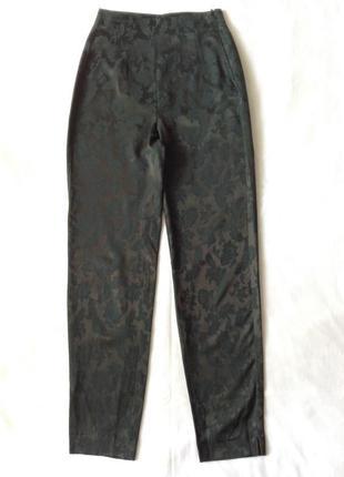 Зелёные жаккардовые брюки с высокой посадкой. винтаж.