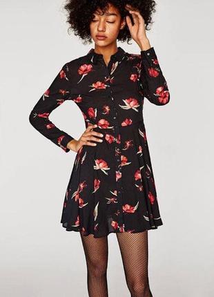 Платье рубашка в цветы zara