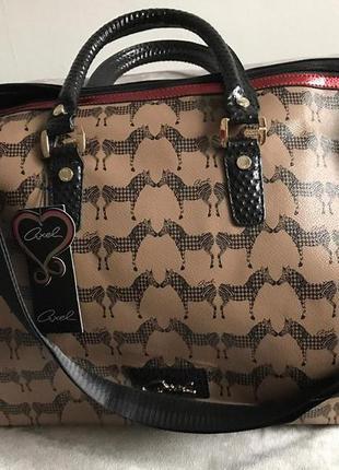 Крутая дорожная сумка бренда aхel в коричневом цвете з зебрами (новая)