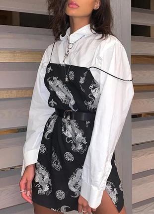 Невероятное платье с драконами на тонких бретелях сарафан