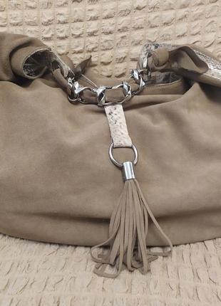 Замшевая и кожаная сумка-мешок. очень вместительная
