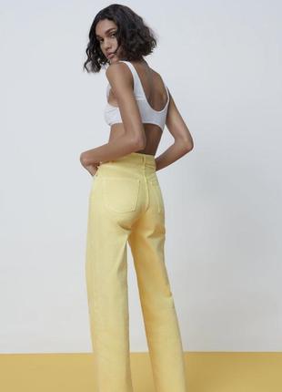 Яркие джинсы зара широкие палаццо брюки zara