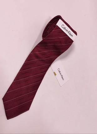 Галстук calvin klein cravatte новый шелковый бордовый / краватка