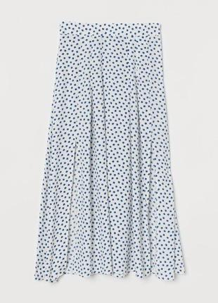 Белая юбка миди в горошек zara
