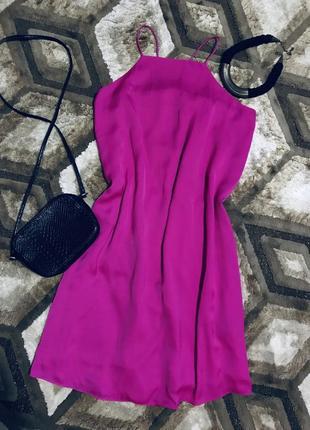 Летнее свободное платье на тонких бретелях шелковое платье атласное сукна