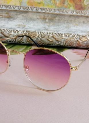 Эксклюзивные брендовые солнцезащитные женские очки раунды сиренево розовая линза
