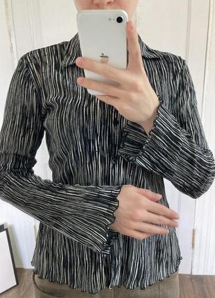 Винтаж тренд рубашка минимализм полоска рукав клеш