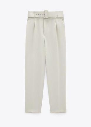 Брюки zara белые молочные штаны зара с поясом