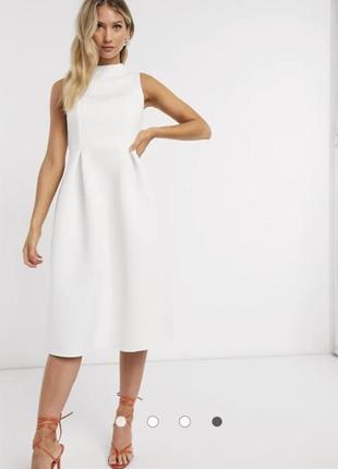 Белое платье миди со шнуровкой на спине и высоким воротом asos design