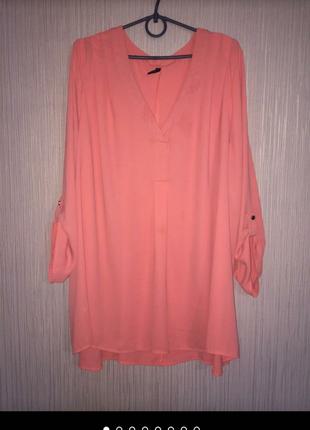 Оболденная легкая, обьемная блуза, платье, туника оверсойз с v вырезом, корраловый,морковный, цвет.
