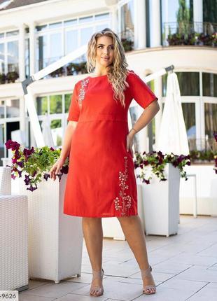 Красное платье лен
