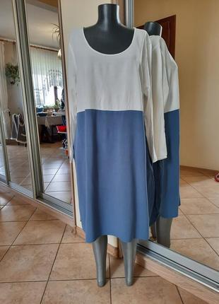 Стильное вискозное с карманами платье 👗большого размера