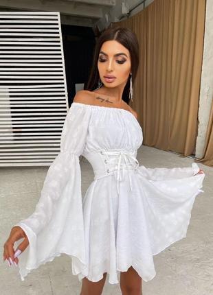 Платье белое софт шифон шифоновое с расклешенными рукавами с поясом