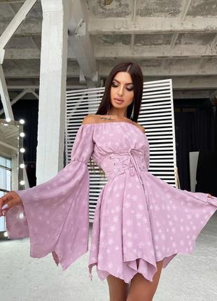 Платье розовое лаванда с расклешенными рукавами с поясом софт шифон шифоновое